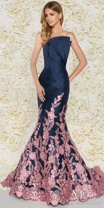 Mac Duggal Contrast Lace Strapless Pleated Bodice Trumpet Gown $798 thestylecure.com