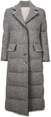 Thom Browne frayed quilted overcoat