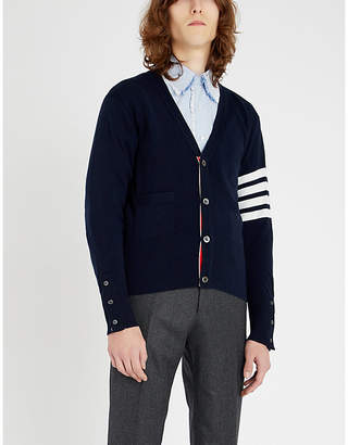 Thom Browne Signature-stripe cashmere cardigan