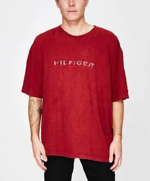 Tommy Hilfiger Storeroom Vintage Vintage Brand T-Shirt Burgundy (XXL)