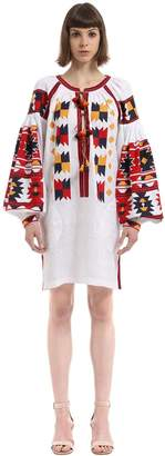 Magic Mix Embroidered Linen Tunic Dress