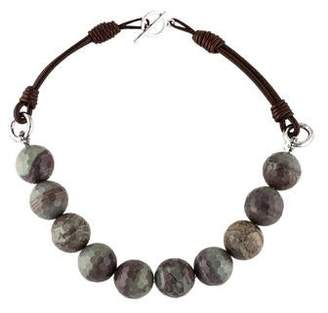 Brunello Cucinelli Agate & Leather Bead Strand Necklace