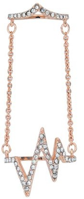 Xo X & O 14KT Rose Gold Plated Lightning Double Chain Ring ***