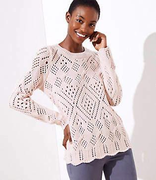 LOFT Petite Lacy Knit Sweater