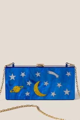 Zenon Stars and Moon Hard Case Clutch - Blue