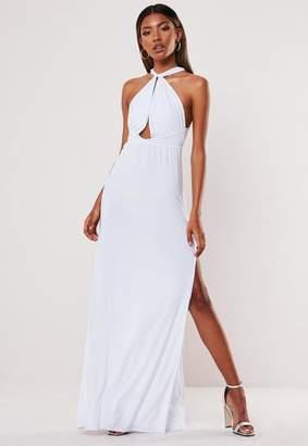 Missguided White Slinky Double Split Plunge Halterneck Maxi Dress