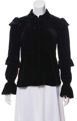Frame Velvet Ruffled Top
