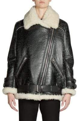 Acne Studios Shearling& Leather Oversized Vintage Moto Jacket