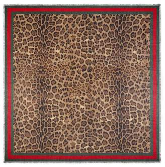 Gucci Leopard print modal silk shawl
