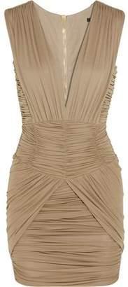 Balmain Ruched Stretch-Jersey Mini Dress