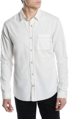 Vince Men's Contrast-Stitch Button-Down Shirt