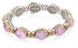 Konstantino Pink Mother-Of-Pearl, Quartz Doublet, 18K Yellow Gold & Sterling Silver Bangle Bracelet