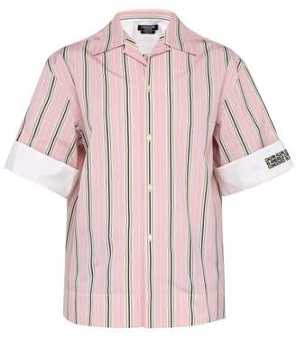 Calvin Klein Logo Embroidered Striped Cotton Poplin Shirt - Mens - Pink