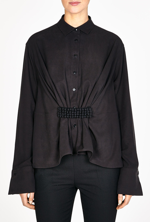 Palmer Harding palmer//harding Silk Front Embroidered Cinched Shirt