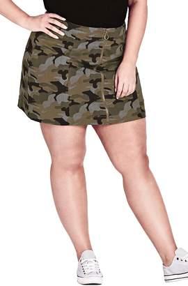 City Chic Miss Military Camo Miniskirt