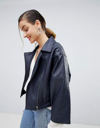 Selected Textured Leather Jacket With Wide Sleeve