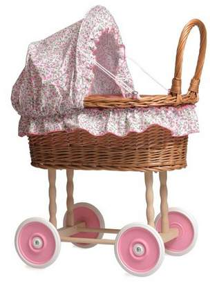 Little Ella James Wicker Dolls' Pram With Pink Hood