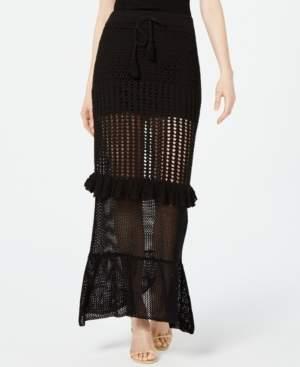 KENDALL + KYLIE Ruffled Crochet Maxi Skirt