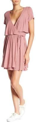 Dee Elly Striped Surplice Neck Wrap Dress
