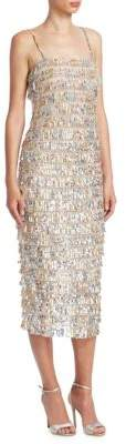 Monique Lhuillier Tiered Midi Fringe Dress