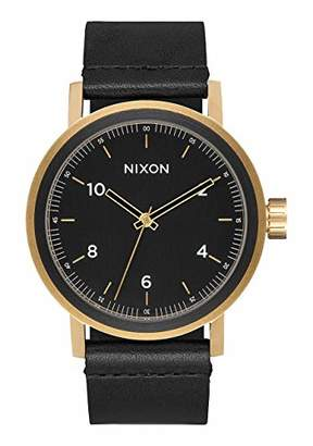 Nixon Stark Leather A1194 - All Black/Gold - 100m Water Resistant Men's Analog Classic Watch (42mm Watch Face