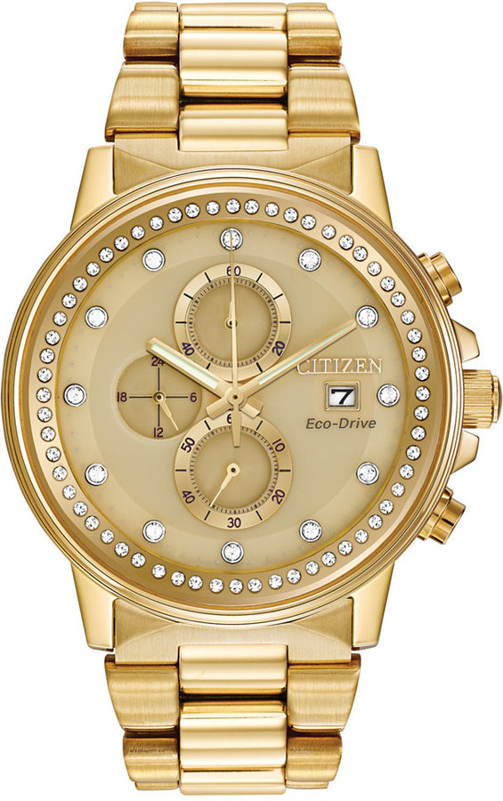 Citizen Citizen Unisex Chronograph Nighthawk Eco-Drive Gold-Tone Stainless Steel Bracelet Watch 42mm FB3002-53P