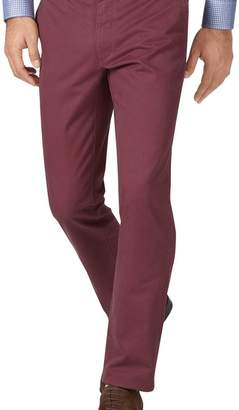 Charles Tyrwhitt Dark pink slim fit flat front washed chinos