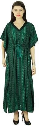 Phagun Abstract Caftan Polyester Bohemian Kaftan Maxi Nightwear Dress
