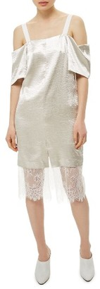 Women's Topshop Lace & Satin Off The Shoulder Dress $125 thestylecure.com