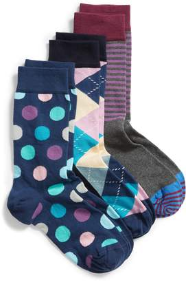 Happy Socks 3-Pack Pattern Crew Socks