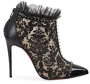 Christian Louboutin Women's Pigalle 100 Studded Lace Booties