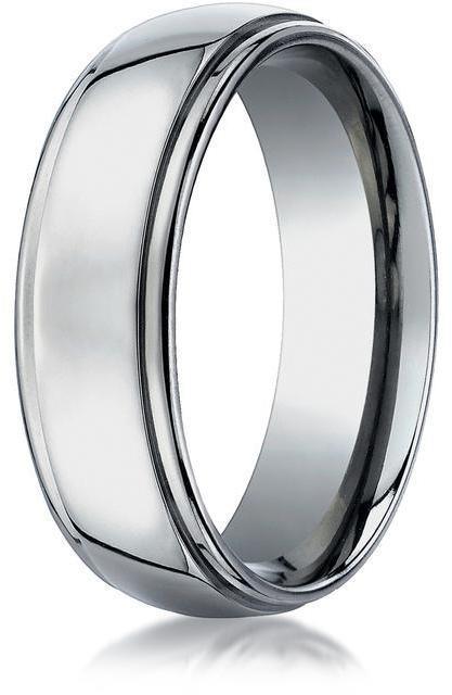 Benchmark Titanium 7mm Comfort-Fit Stepped Edge Design Ring