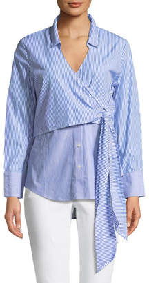 Bardot Wrap Tie Button-Down Poplin Shirt