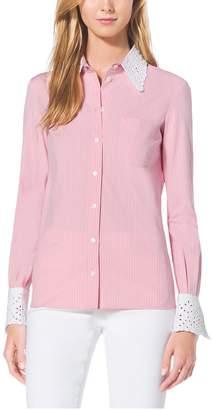 Michael Kors Eyelet-Embroidered Cotton-Poplin Shirt