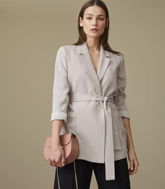 Reiss Prairie - Belted Relaxed-fit Blazer in SOFT GREY