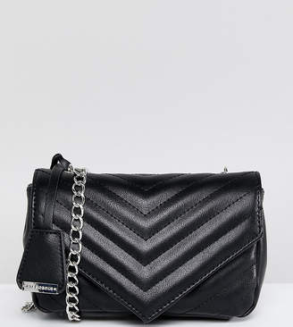 Glamorous Quilted Chevron Cross Body Bag In Black