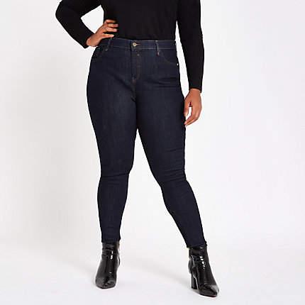 Womens Plus dark Blue mid rise skinny Amelie jeans