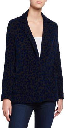 Neiman Marcus Majestic Paris for Leopard-Print One-Button Blazer