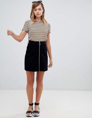 Monki cord zip up mini skirt in navy