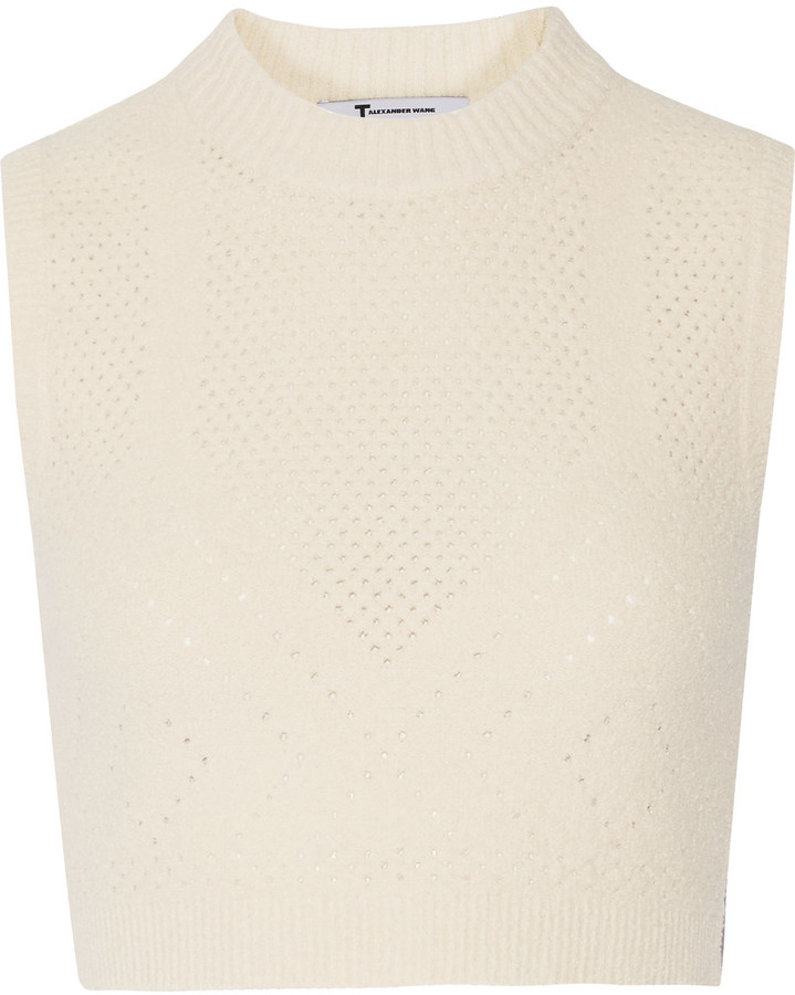 T by Alexander Wang Cropped pointelle-knit cotton-blend top
