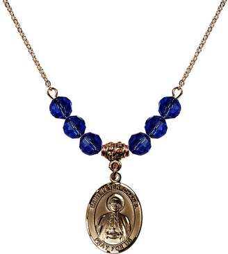 Chanel Bonyak Jewelry Saint Necklace Collection 18-Inch Hamilton Gold Plated Necklace with 6mm Blue September Birth Month Stone Beads and Saint Peter Charm