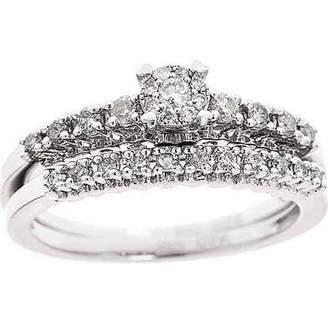 Generic 3/8-Carat T.W. Round White Diamond Sterling Silver Bridal Set, Size 7
