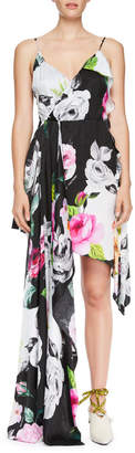 Off-White Off White Draped Floral Silk Cami Dress