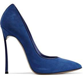Casadei Blade Leather-Trimmed Suede Pumps