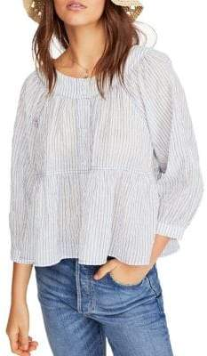 Free People Striped Relaxed-Fit Button-Down Shirt