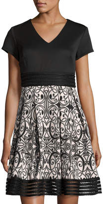 Taylor Boteh-Print A-Line Dress, Black/Pink