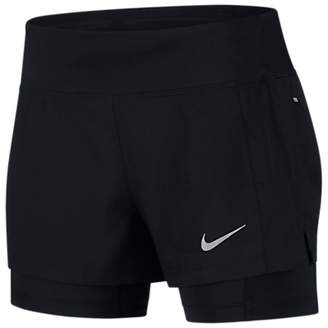 Nike Eclipse 2-in-1 Running Shorts, Black/Reflective Silver