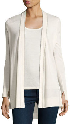 Neiman Marcus Cashmere Collection Superfine Chain-Trim Open Cardigan w/ Semisheer Back $340 thestylecure.com
