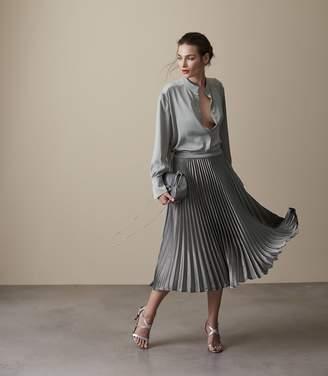 Reiss Alisa Metallic Midi Skirt