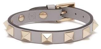 Valentino Rockstud Leather Bracelet - Womens - Grey